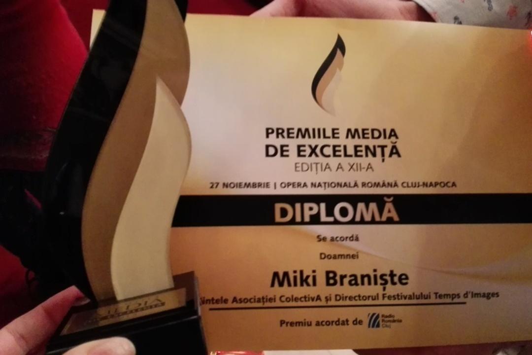 Miki Braniște – premiu acordat de Radio Cluj în cadrul Galei Premiilor Media de Excelență